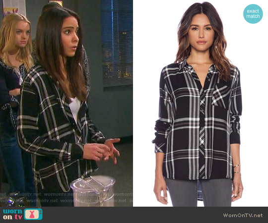 Rails Hunter Shirt in Black / White / Gray worn by Victoria Konefal on Days of our Lives