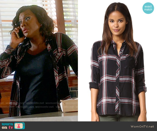 Rails 'Hunter' Shirt in Jet / White / Ruby worn by Viola Davis on HTGAWM