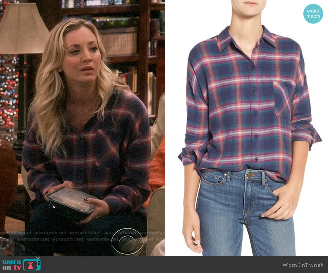 Rails Jackson Shirt in Navy / Jade / Pink worn by Kaley Cuoco on The Big Bang Theory
