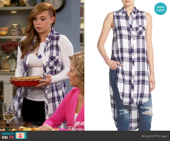 Rails 'Jordyn' Sleeveless Tunic in White / Navy / Orchid worn by Amanda Fuller on Last Man Standing