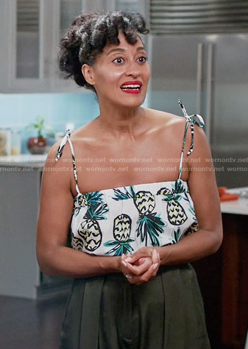 Rainbow's pineapple print crop top on Black-ish