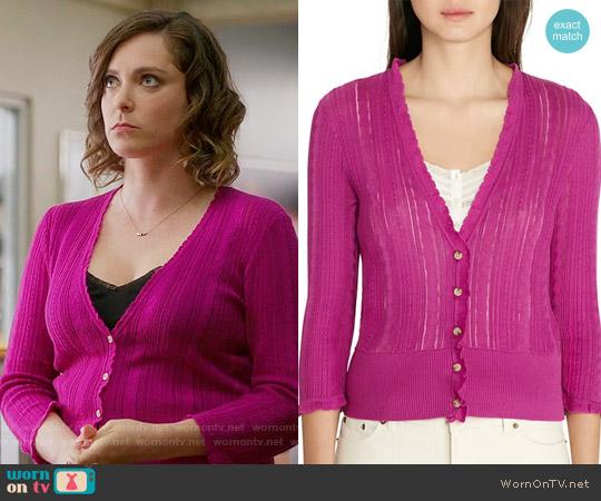 Lauren Ralph Lauren Pointelle Knit Cardigan in Wild Berry worn by Rebecca Bunch (Rachel Bloom) on Crazy Ex-Girlfriend