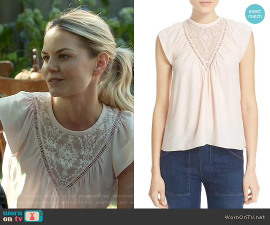 Rebecca Taylor Embroidered Inset Silk Top worn by Jennifer Morrison on OUAT