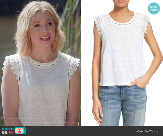 Rebecca Taylor Lace Trim Linen Tank worn by Kristen Bell on The Good Place