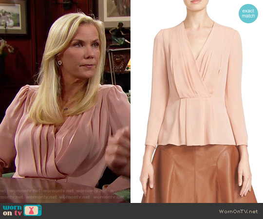 Rebecca Taylor Pleated Georgette Faux Wrap Blouse worn by Katherine Kelly Lang on The Bold & the Beautiful