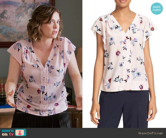 Rebecca Taylor 'Bellflower' Flutter Sleeve Floral Silk Top worn by Rachel Bloom on Crazy Ex-Girlfriend
