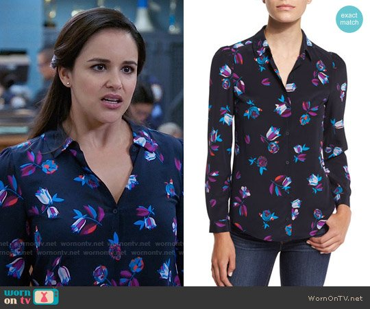 Rebecca Taylor Bellflower Silk Blouse worn by Melissa Fumero on Brooklyn Nine-Nine