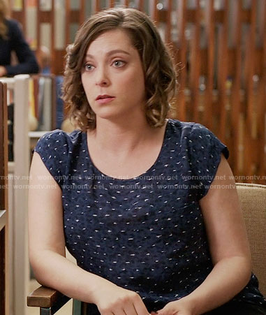 Rebecca's blue printed top on Crazy Ex-Girlfriend