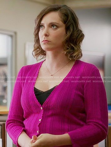 Rebecca's pink pointelle cardigan on Crazy Ex-Girlfriend