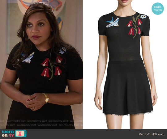 RED Valentino Short-Sleeve Intarsia Dress worn by Mindy Kaling on The Mindy Project