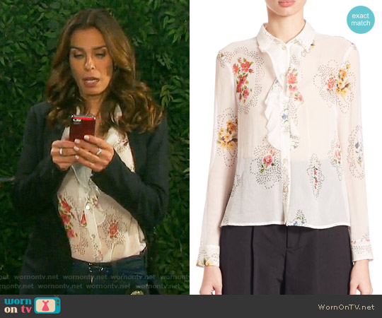 RED Valentino Framed Floral-Print Ruffle-Front Blouse worn by Kristian Alfonso on Days of our Lives