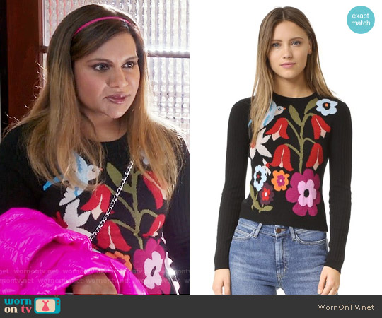 RED Valentino Intarsia Sweater worn by Mindy Kaling on The Mindy Project