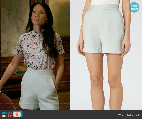 Reiss Greece Textured Tailored Shorts worn by Lucy Liu on Elementary