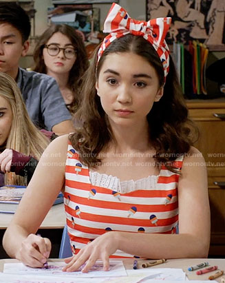 Riley's striped popsicle print dress on Girl Meets World