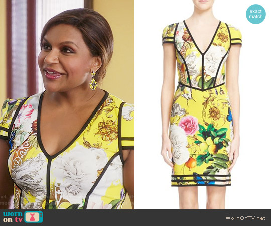 Roberto Cavalli 'Wonderland' Print Sheath Dress worn by Mindy Kaling on The Mindy Project