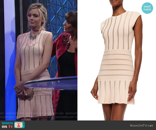 Ronny Kobo Sleeveless Metallic-Stripe Dress worn by Melissa Ordway on The Young & the Restless