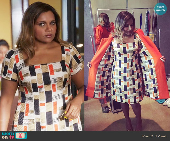 Salvador Perez Custom Designed Geometric Dress worn by Mindy Kaling on The Mindy Project