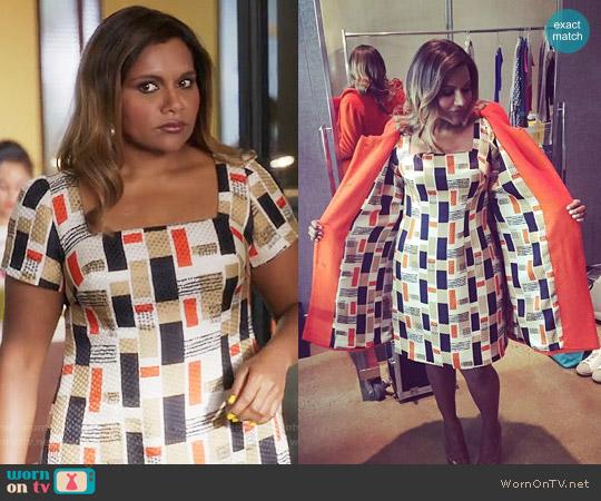 Salvador Perez Custom Designed Geometric Dress worn by Mindy Lahiri (Mindy Kaling) on The Mindy Project