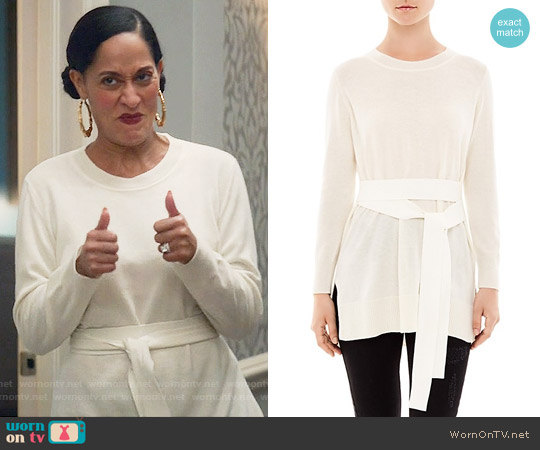 Sandro Coline Belted Sweater worn by Tracee Ellis Ross on Blackish
