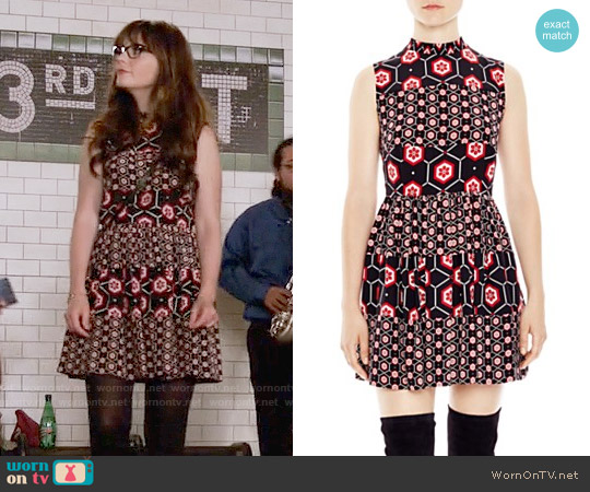 Sandro Honeycomb Printed Silk Dress worn by Zooey Deschanel on New Girl