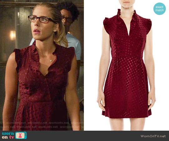 Sandro Jasmine Dot Print Dress worn by Felicity Smoak (Emily Bett Rickards) on Arrow