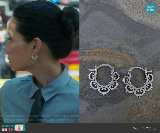 Sasha Bell Jewelry Mini Ornate Tribal Hoops worn by Joan Watson on Elementary