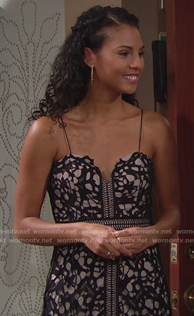 Sasha's black lace gown on The Bold and the Beautiful