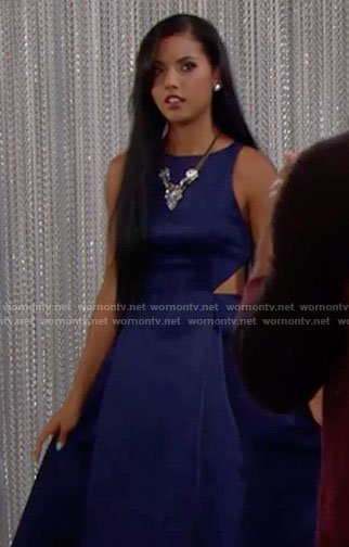 Sasha's blue gown with cutouts sides on The Bold and the Beautiful