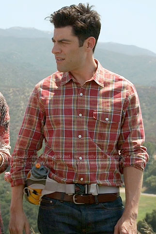 Schmidt's red plaid shirt on New Girl