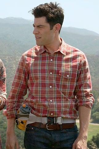 Schmidt's red plaid shirt on New Girl