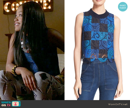 Sea Crochet Lace Crop Tank worn by Keke Palmer on Scream Queens