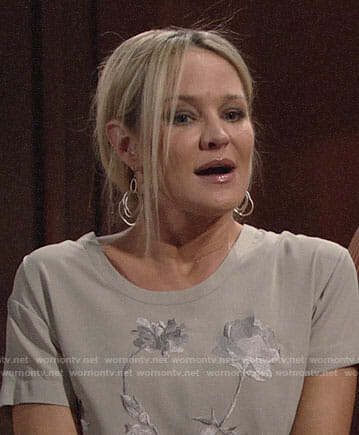 Sharon's beige embroidered top on The Young and the Restless