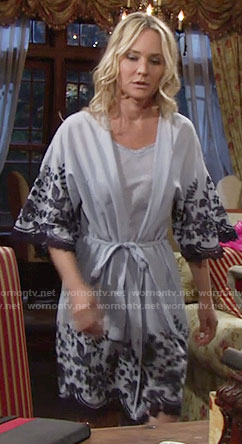 Sharon's blue embroidered robe on The Young and the Restless