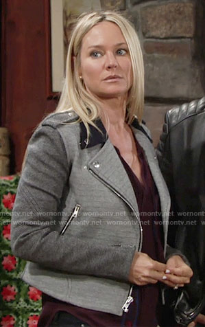 Sharon's grey colorblock moto jacket on The Young and the Restless