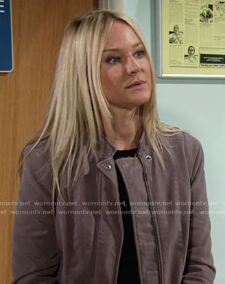 Sharon's mauve suede jacket on The Young and the Restless