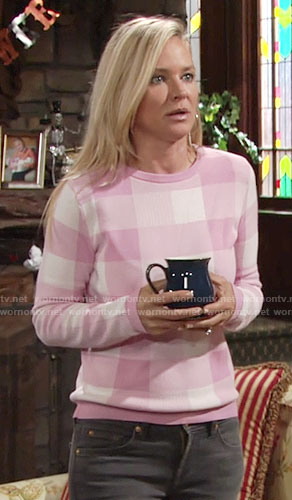 Sharon's pink gingham sweater on The Young and the Restless