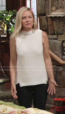 Sharon's sleeveless textured sweater on The Young and the Restless