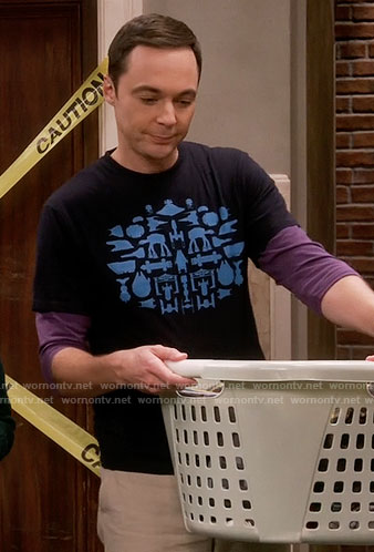 Sheldon's blue Star Wars silhouettes t-shirt on The Big Bang Theory