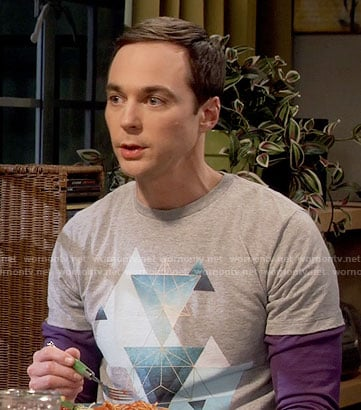 Sheldon's triangle graphic tee on The Big Bang Theory
