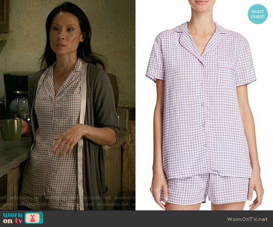 Splendid Gingham Classic Short Pajama Set worn by Lucy Liu on Elementary
