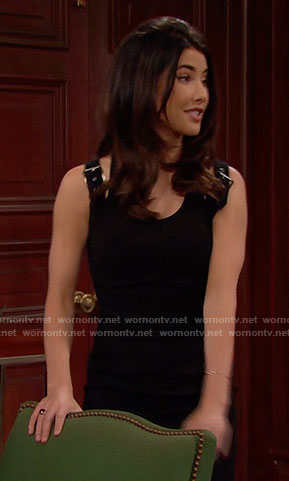 Steffy's black dress with buckled straps on The Bold and the Beautiful