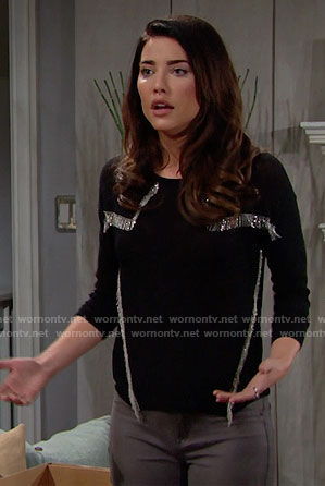 Steffy's black top with silver fringe on The Bold and the Beautiful