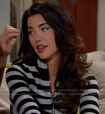 Steffy's grey striped zip up cardigan on The Bold and the Beautiful