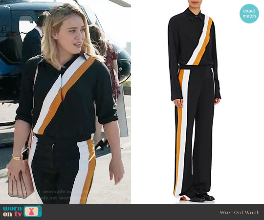 Stella McCartney Diagonal Striped Silk Blouse and Pants worn by Kelsey Peters (Hilary Duff) on Younger