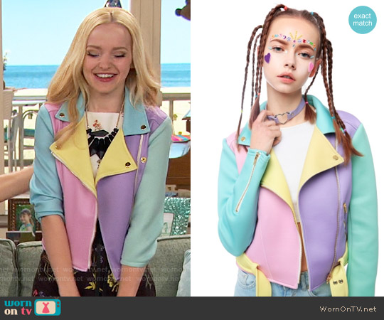 Sugarpills Pastel Moto Jacket worn by Dove Cameron on Liv & Maddie