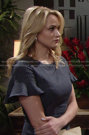 Summer's pinstriped dress with ruffle sleeves on The Young and the Restless