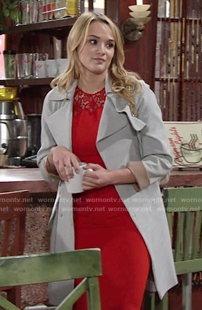Summer's red lace dress and grey coat on The Young and the Restless
