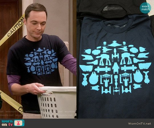 Super 7 Spaceships Tee worn by Jim Parsons on The Big Bang Theory