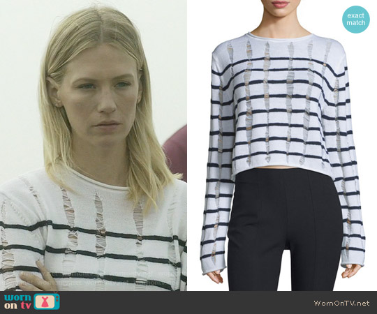 T by Alexander Wang Distressed Striped Boxy Sweater worn by January Jones on Last Man On Earth