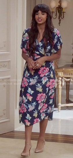 Tahani's navy and pink floral wrap dress on The Good Place